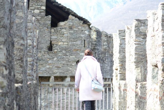 Passeggiata e vista al castello di Bellinzona