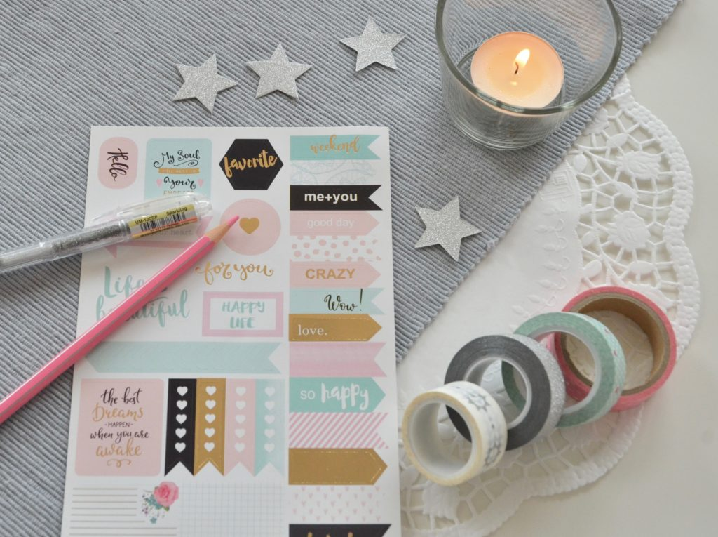 stickers, washi tape, penne