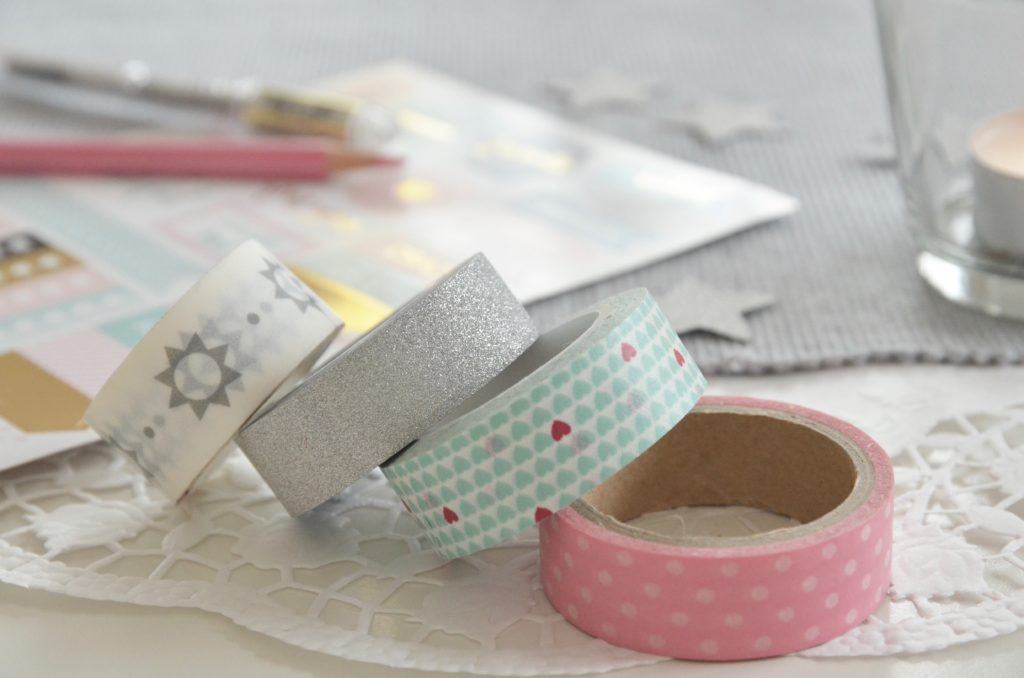 Washi tape in grigio, rosa e turchese