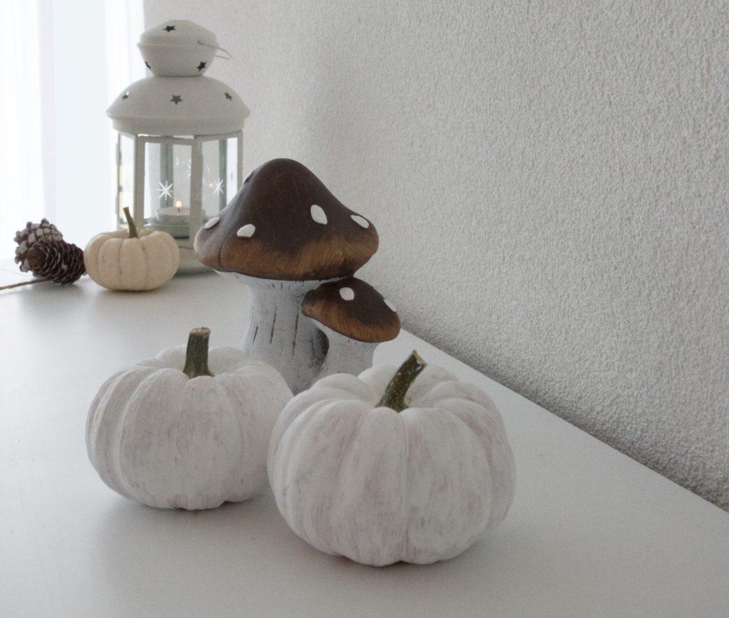 Funghi e zucche bianche per la decorazione d'autunno